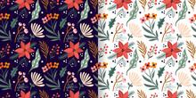 Christmas Floral Seamless Patterns Set, Seasonal Flowers And Plants,  Elegant Winter Design