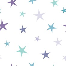 Seamless Cute Pattern With Blue And Violet Stars On White Background. Vector Illustration.