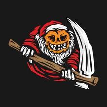 Santa Claus Pumpkin Grim Reaper Vector Illustration