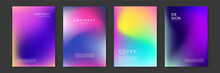 Blurred Backgrounds Set With Modern Abstract Blurred Color Gradient Patterns On White. Smooth Templates Collection For Brochures, Posters, Banners, Flyers And Cards. Vector Illustration.