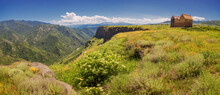 Panorama Of Surb Nshan Or Two Churches - Located On The Edge Of A High Cliff With Deep Debed River Gorge Below. Sightseeing In Armenia