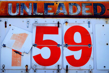 Old Vintage Unleaded Gas Sign With Price Per Gallon