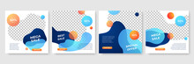 Set Of Editable Minimal Square Banner Template. Blue And Yellow Background Color With Stripe Line Shape. Suitable For Social Media Post And Web Internet Ads. Vector Illustration With Photo College