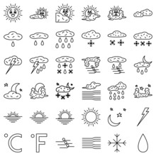 Weather Forecast, Meteorology, Time Of Year, Sunny Or Rainy Weather, Wind, Hail, Rain During The Day Or At Night. A Set Of Vector Icons, Offline, Isolated, 48x48 Pixel.