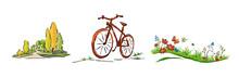 Fahrrad, Blumenwiese, Park, Wald, Illustration