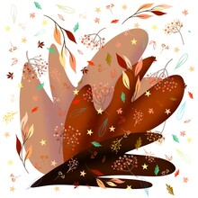 Background With Brown Leaves, Autumn Illustration Leaves
