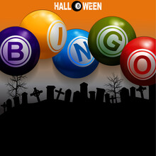 Halloween Bingo 3D Balls On Graveyard