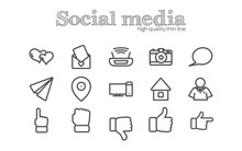 Social Media And Internet Thin Line Icon Set With Like, Wi Fi, Paper Plane