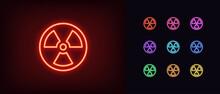 Outline Neon Radiation Icon. Glowing Neon Radiation Sign, Hazard Pictogram In Vivid Colors