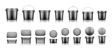 Black Bucket Mockups For Ice Cream, Yogurt, Cheese, Mayonnaise, Butter Or Paint