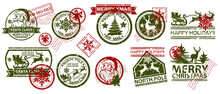 Christmas Mail Stamp Vector Illustration Set, Santa Claus Vintage Postmark Design, Holiday Winter Mail. New Year Grunge Postal Label, Holiday Snowflake Card, Reindeer Silhouette. Christmas Stamp Tag
