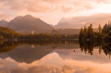 Morning On Lake Strbske Pleso. Morning View Of The High Tatras National Park, Slovakia, Europe.