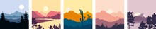 Abstract Night Landscape With Mountains. Set Vector Illustrations, Wallpapers. Twilight, Sunset.