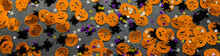 Banner With Halloween Background: Confetti In The Shape Of Orange Pumpkins, Black Spiders And Stars. Copy Space