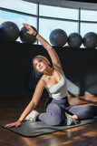 Fitness, sports.fit,Girl doing fitness  gym after opening lockdown Wellness, health care, lifestyle, hobby generation z sports recreation concept  online fitness apps. workout,training,Fit wellness