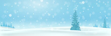 Christmas Holiday Background. Winter Snow December Landscape, Pine Trees In The Snow. Snowfall Blue Sky Wallpaper. Eps10