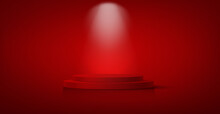3D Winner Podium, Red Carpet Staircase, Celebrity Party Award Concept. Banner Hollywood Event, Films And Cinema Template Stock, Academy Award Stars Vector Isolated On Red Background