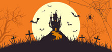 Orange Halloween Banner Scary Castle And Bats
