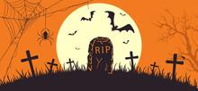 Orange Halloween Banner With Tombstone