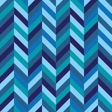 Seamless Blue Herringbone Chevron Zig Zag Pattern Background