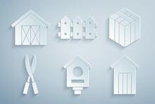 Set Bird House, Bale Of Hay, Gardening Handmade Scissors, Wooden Outdoor Toilet, Fence Wooden And Farm Icon. Vector