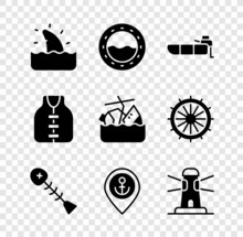 Set Shark Fin In Ocean Wave, Ship Porthole, Inflatable Boat With Motor, Dead Fish, Location Anchor, Lighthouse, Life Jacket And Sinking Cruise Ship Icon. Vector
