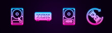 Set Line Hard Disk Drive HDD, Retro Flip Clock, And Waiting. Glowing Neon Icon. Vector