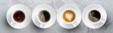 Collection Of Hot Coffee Cup,cappuccino, Espresso, Black Coffee And Hot Tea On Marble Table, Top View