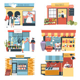 Shops and stall, street kiosks and stores vector