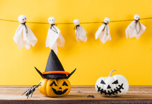 Funny Halloween Day Decoration Party, Baby Cute White Ghost Crafts Scary Face Hanging And Halloween Pumpkin Head Jack Lantern Smile And Spider On Wooden, Studio Shot Isolated, Happy Holiday Concept