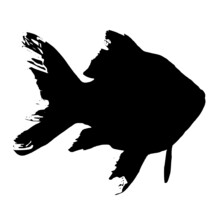 Vector Silhouette Of Goldfish On White Background