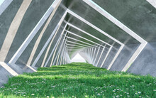 Architecture Corridor With Lawn. Concept Design. 3D Rendering