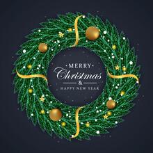 Christmas Wreath Deep Green Leaf With Golden Reborn And Golden Ball Golden Shanoflackes.