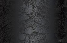 Luxury Black Metal Gradient Background With Distressed Closeup Oak Acorn Texture.