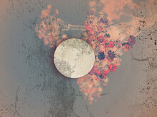 Creative Poster With The Moon And Flowers. Mixing Of Elements And Distressed Texture