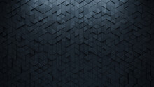 Polished, 3D Mosaic Tiles Arranged In The Shape Of A Wall. Black, Triangular, Bricks Stacked To Create A Semigloss Block Background. 3D Render