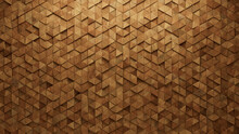 Timber, Soft Sheen Mosaic Tiles Arranged In The Shape Of A Wall. Triangular, 3D, Blocks Stacked To Create A Wood Block Background. 3D Render