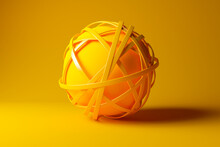 Three Dimensional Render Of Yellow Sphere Tangled In Yellow Cables