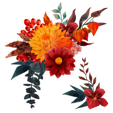 Lush Floral Composition, Fall Floral Elements, Hand Drawn