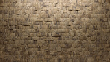 Square, Natural Stone Mosaic Tiles Arranged In The Shape Of A Wall. Semigloss, Polished, Bricks Stacked To Create A 3D Block Background. 3D Render