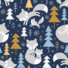 Seamless Vector Pattern With Cute Hand Drawn Polar Foxes, Pine Trees And Snowy Winter Woodland On Dark Blue Background. Perfect For Textile, Wallpaper Or Print Design.