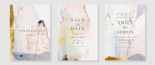 Elegant Abstract Watercolor Wedding Invitations Vector Set. Luxury Gold And Hand Painted Watercolor Background Decoration For Save The Date, Greeting Card, Poster And Cover Design Template.