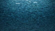 3D, Rectangular Mosaic Tiles Arranged In The Shape Of A Wall. Blue Patina, Polished, Bricks Stacked To Create A Glazed Block Background. 3D Render