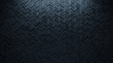 Herringbone, 3D Mosaic Tiles Arranged In The Shape Of A Wall. Semigloss, Polished, Bricks Stacked To Create A Black Block Background. 3D Render