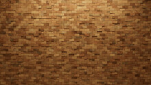 Timber, Wood Mosaic Tiles Arranged In The Shape Of A Wall. Soft Sheen, Rectangular, Blocks Stacked To Create A 3D Block Background. 3D Render