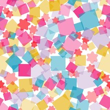 Multicolored Stars And Squares On A White Background.