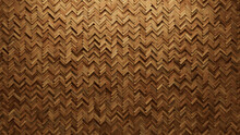 3D, Timber Mosaic Tiles Arranged In The Shape Of A Wall. Wood, Soft Sheen, Blocks Stacked To Create A Herringbone Block Background. 3D Render