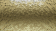 Glossy, Gold Mosaic Tiles Arranged In The Shape Of A Wall. Polished, 3D, Bullion Stacked To Create A Fish Scale Block Background. 3D Render