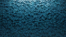 Polished, Fish Scale Mosaic Tiles Arranged In The Shape Of A Wall. 3D, Blue Patina, Bricks Stacked To Create A Glazed Block Background. 3D Render