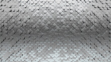 3D, Glossy Mosaic Tiles Arranged In The Shape Of A Wall. Polished, Silver, Bullion Stacked To Create A Fish Scale Block Background. 3D Render
